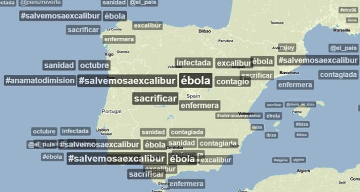 Temás más tuiteados a mediodía del 8 de Octubre en España (Fuente: Trendsmap)